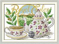 Чайный натюрморт. Набор для вышивки крестом с печатью на ткани 14ст