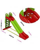 Детская большая горка для катания Doloni Toys 243 см с водным эффектом, зелено-красный