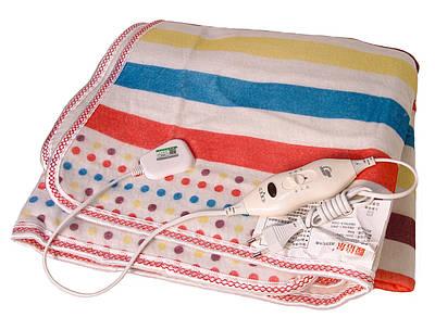 Электропростынь согревающая простынь электрическая с сумкой Electric blanket 150160 разноцветные полоски