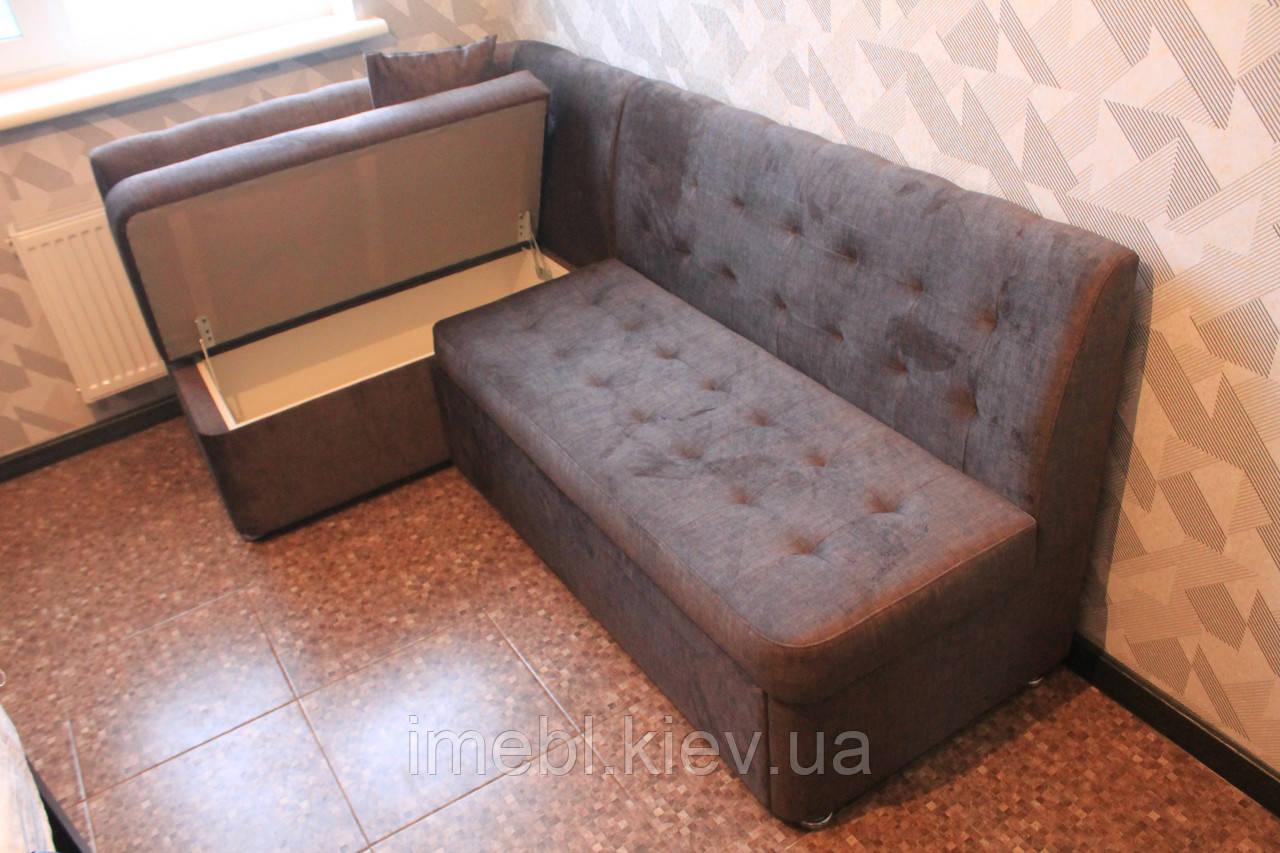 Кухонный угловой диван с ящиками и спальным местом (Серый)