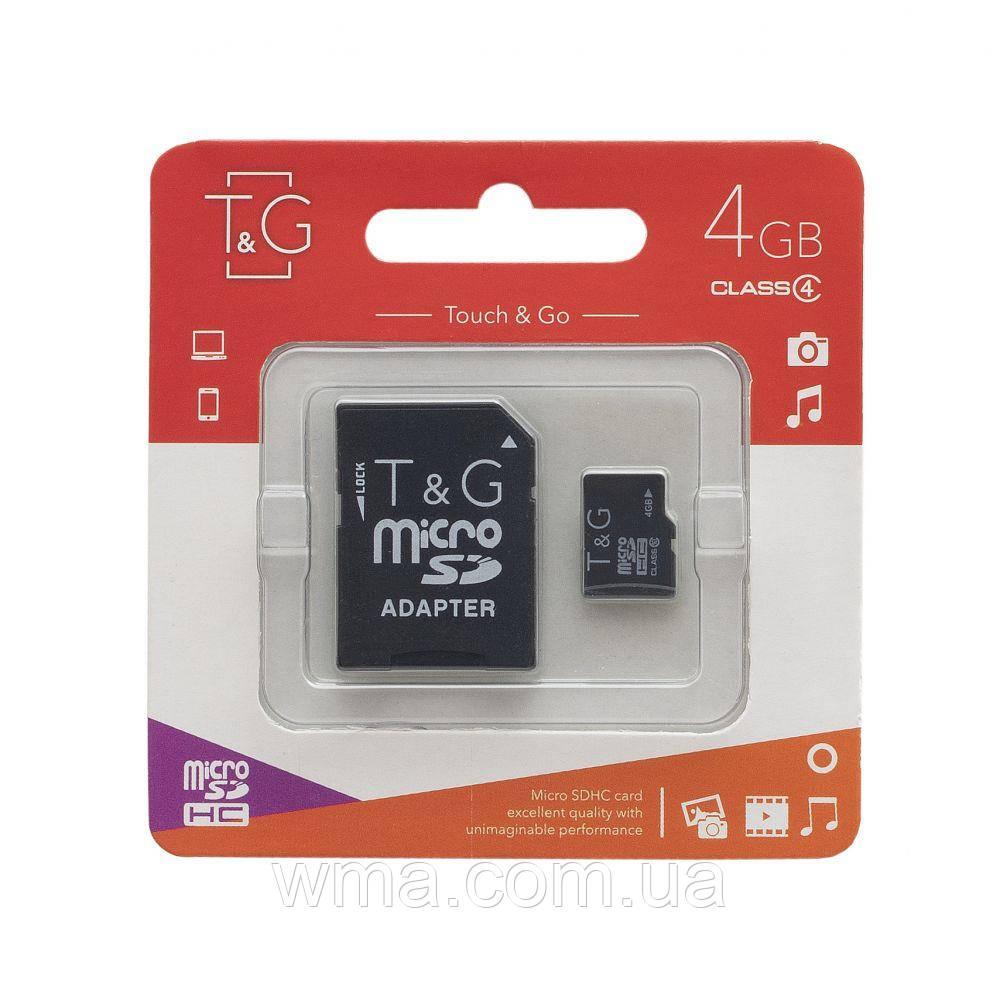Карта Пам'яті T&G, MicroSDHC 4gb Class 4 & Adapter Колір Чорний