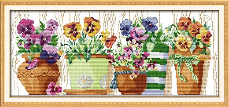 Цветы в горшках J180/2 Набор для вышивки крестом с печатью на ткани 14ст