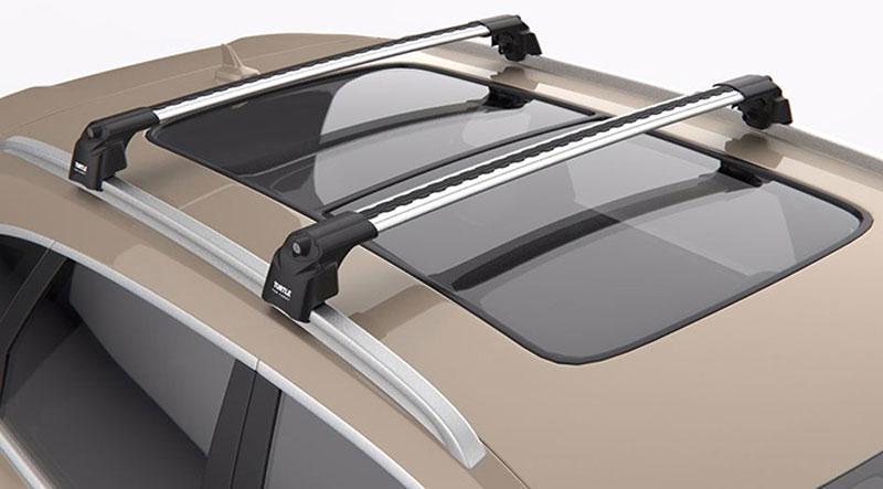 Багажник на крышу Volvo XC 90 2015- на интегрированные рейлинги серый Turtle