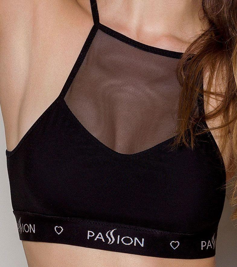 Спортивный топ с прозрачной вставкой Passion PS006 TOP black, size L