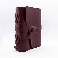 Кожаный блокнот COMFY STRAP В6 12.5 х 17.6 х 3.5 см Чистый лист Бордовый (051)