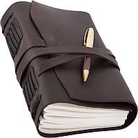 Блокнот кожаный COMFY STRAP с ручкой А5 14.8 х 21 х 4 см Чистый лист Темно-коричневый (011)