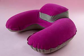 Подушка для подорожей Inflex надувна з підголовником Рожевий (954-02)