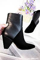 36 р. Ботинки женские деми черные замшевые на высоком каблуке каблучке демисезонные из натуральной замши, фото 1