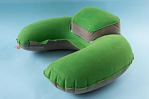 Подушка для подорожей Inflex надувна з підголовником Зелений (954-02gre)