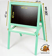 Двухсторонняя деревянная доска для рисования мелом и маркерами с магнитной стороной - мольберт игруша