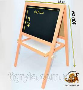 Детский мольберт доска  для рисования мелом и маркерами,  двухсторонний 2в1 с магнитной доской - ируша