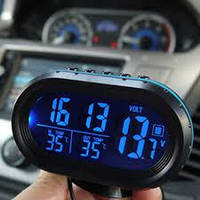 Автомобільні годинник з термометром і вольтметром VST 7009 V