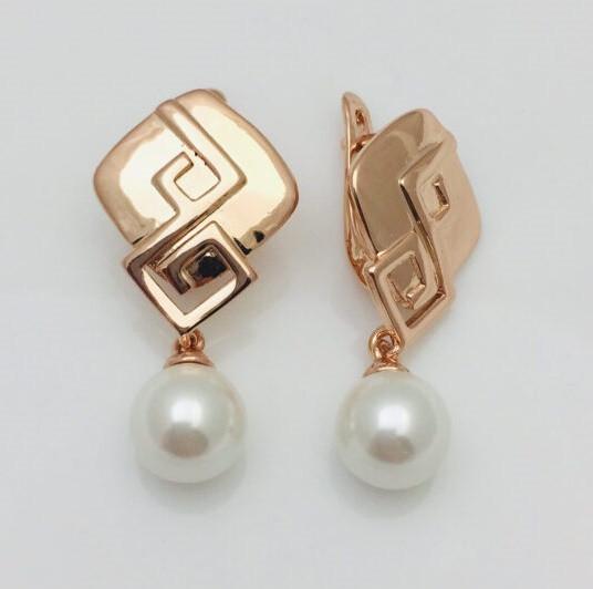 Сережки з перлами, Геоцінт висота 31 мм ширина 16 мм, позолота 18К, ювелірна біжутерія Fallon