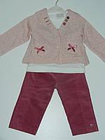 Тепленький костюм детский для девочки тройка трикотаж рр. 62 - 74 Турция