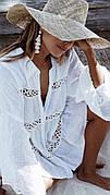 Пляжная рубашка-платье белое