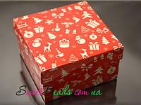 Коробка 90*90*25мм, новый год красная