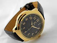 Часы мужские Луч золотистые с черным циферблатом