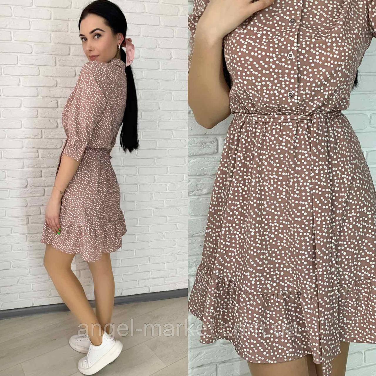 Женское платье весеннее  в горох  новинка 2021