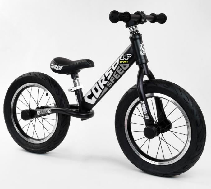 Детский Велобег беговел CORSO 65474 стальная рама /колеса 14 дюймов надувные / алюминиевые диски / черно-белый