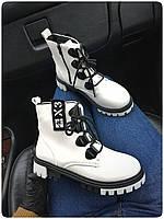 Женские ботинки, еко-кожа (Размер: 36-40), Цвет: белый+черная шнуровка. код 352047