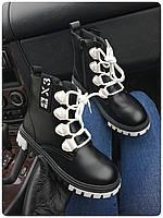 Женские ботинки, еко-кожа (Размер: 38, 39, 40), Цвет: черный+белая шнуровка. код 352048