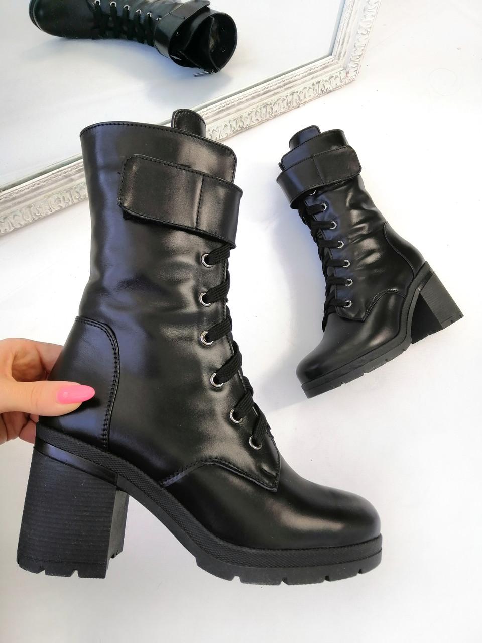 37 р. Ботинки женские деми черные кожаные на высоком каблуке демисезонные из натуральной кожи натуральная кожа