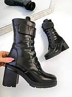 37 р. Ботинки женские деми черные кожаные на высоком каблуке демисезонные из натуральной кожи натуральная кожа, фото 1