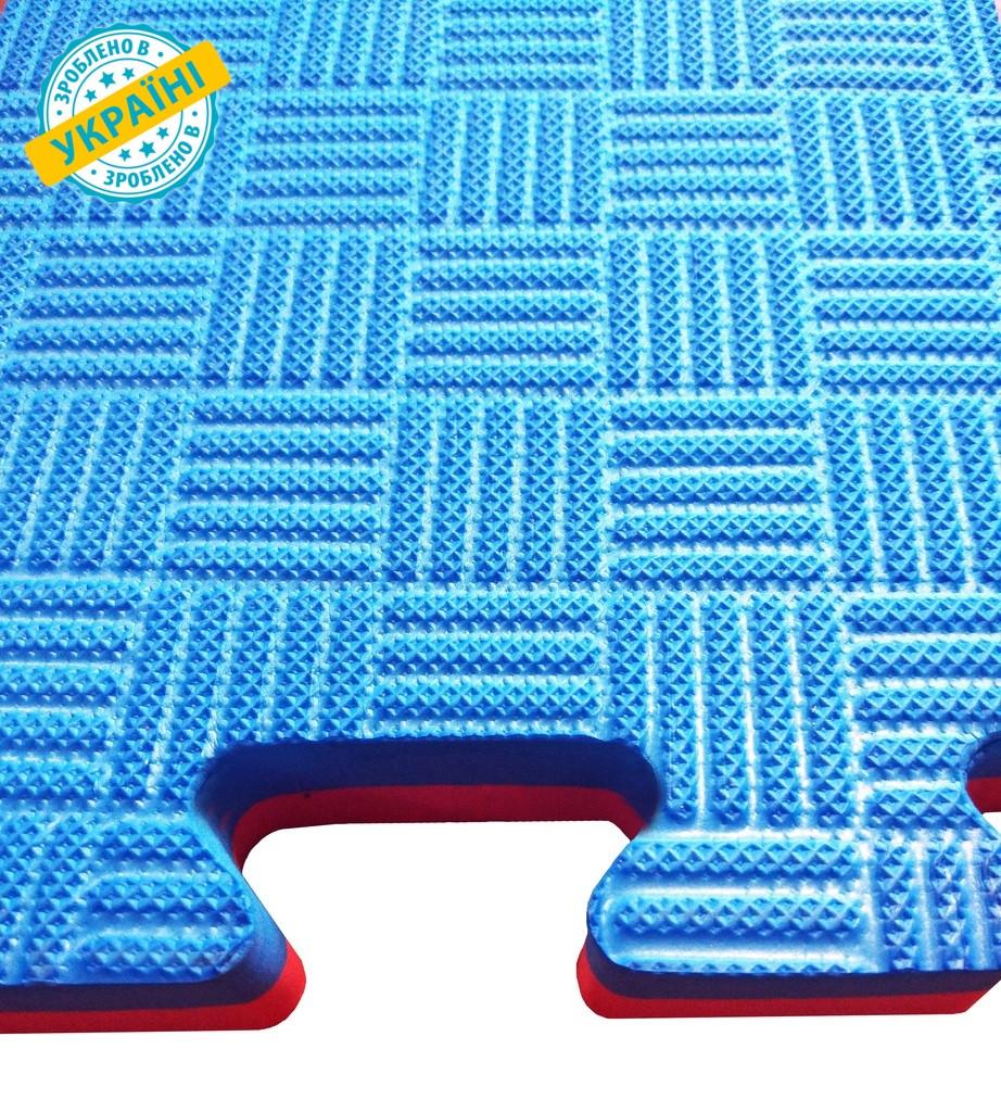 Мат татами 100*100*2.6 см Eva-Line синий/красный Плетёнка Anti-Slide Plus 120 кг/м3 (номинально)