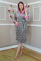 Велюровий халат з капюшоном на запах