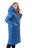 Р-48,50,52,54,56,58,60 Красивый женский весенний плащ- пальто, демисезонный, больших размеров. Электрик