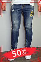 Стильные мужские джинсы зауженные синие турция