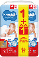 Подгузники детские одноразовые Bambik Mega 4 MAXI 7-18 кг 90 шт (4823071642032), фото 1