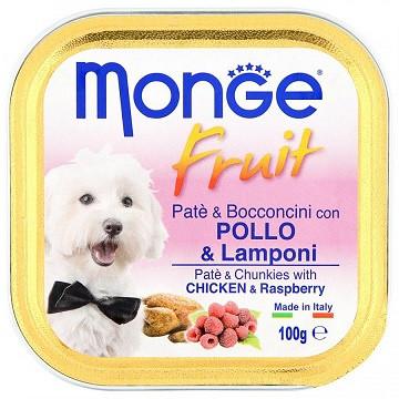Monge (Монж) Dog Fruit Консервы для собак паштет с курицей и малиной
