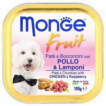 Monge (Монж) Dog Fruit Консервы для собак паштет с курицей и малиной, фото 2