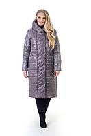 Р-48,50,52,54,56,58,60 Красивый женский весенний плащ- пальто, демисезонный, больших размеров. Серый