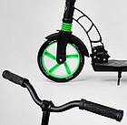Складной самокат двухколесный Best Scooter 62798 / колеса PU / 1 амортизатор / с подножкой / черно-зеленый, фото 7