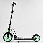 Складной самокат двухколесный Best Scooter 62798 / колеса PU / 1 амортизатор / с подножкой / черно-зеленый, фото 2