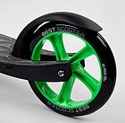 Складной самокат двухколесный Best Scooter 62798 / колеса PU / 1 амортизатор / с подножкой / черно-зеленый, фото 5