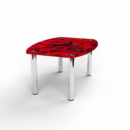 Стеклянный  стол журнальный столик из стекла БЦ Стол Бочка с фотопечатью Rose, фото 2