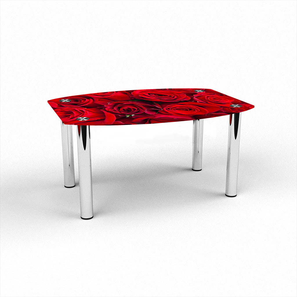 Стеклянный  стол журнальный столик из стекла БЦ Стол Бочка с фотопечатью Rose