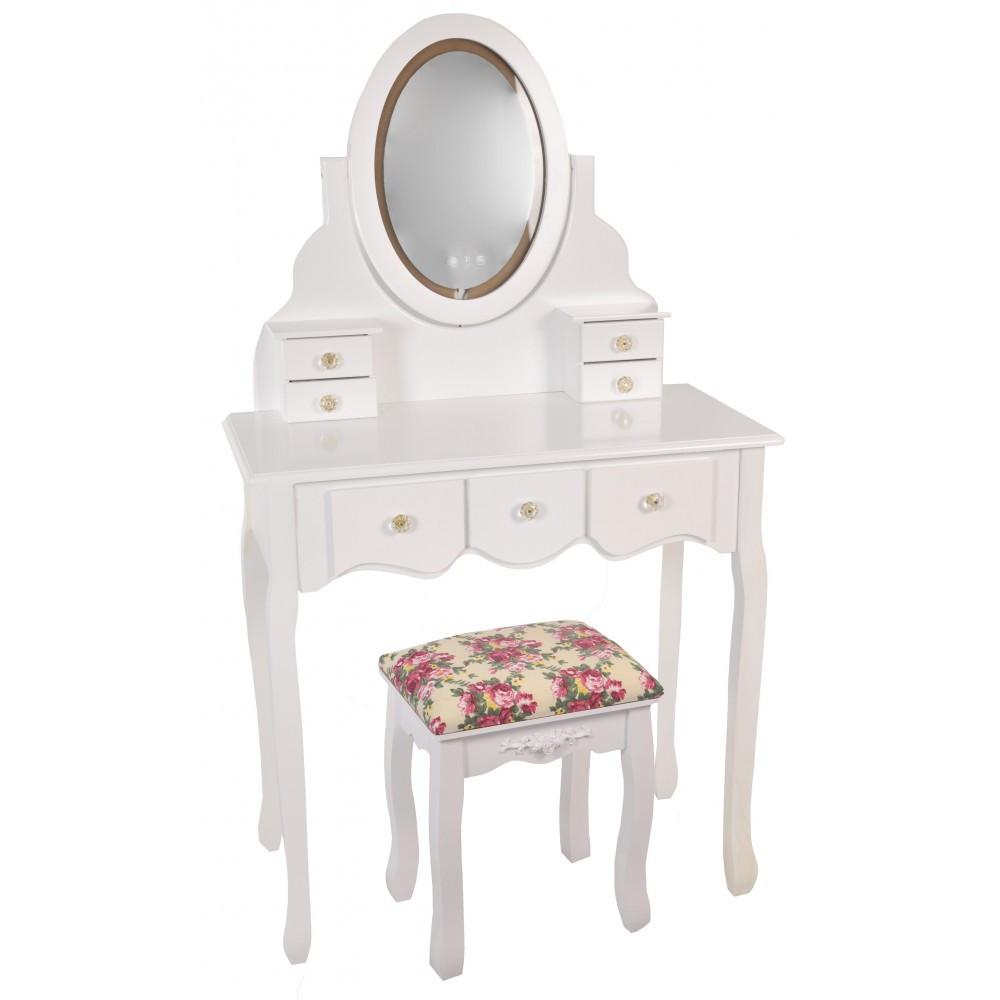 Туалетний Столик косметичний трюмо з підсвічуванням і табуретом дерево + МДФ білий