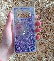 Чехол с сердечками и блестками в жидкости для Samsung Galaxy S10e, Фиолетовый