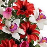 Искусственные цветы букет орхидея с бутонами роз  и крокусом, 59см, фото 2