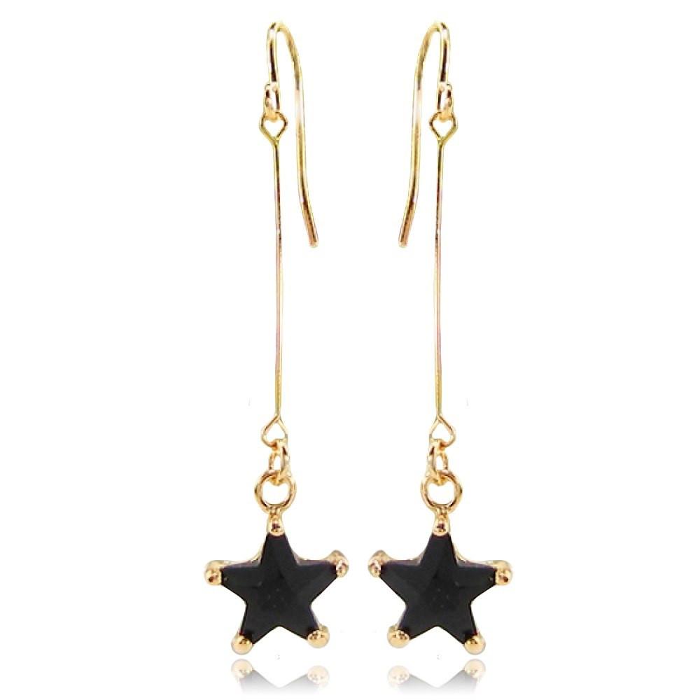 Довгі жіночі сережки висульки зірочки покриті золотом з чорним каменем муассанитом