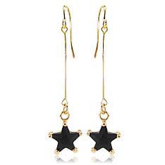 Длинные женские серьги висюльки звездочки покрытые золотом с черным камнем муассанитом