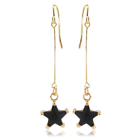 Довгі жіночі сережки висульки зірочки покриті золотом з чорним каменем муассанитом, фото 2