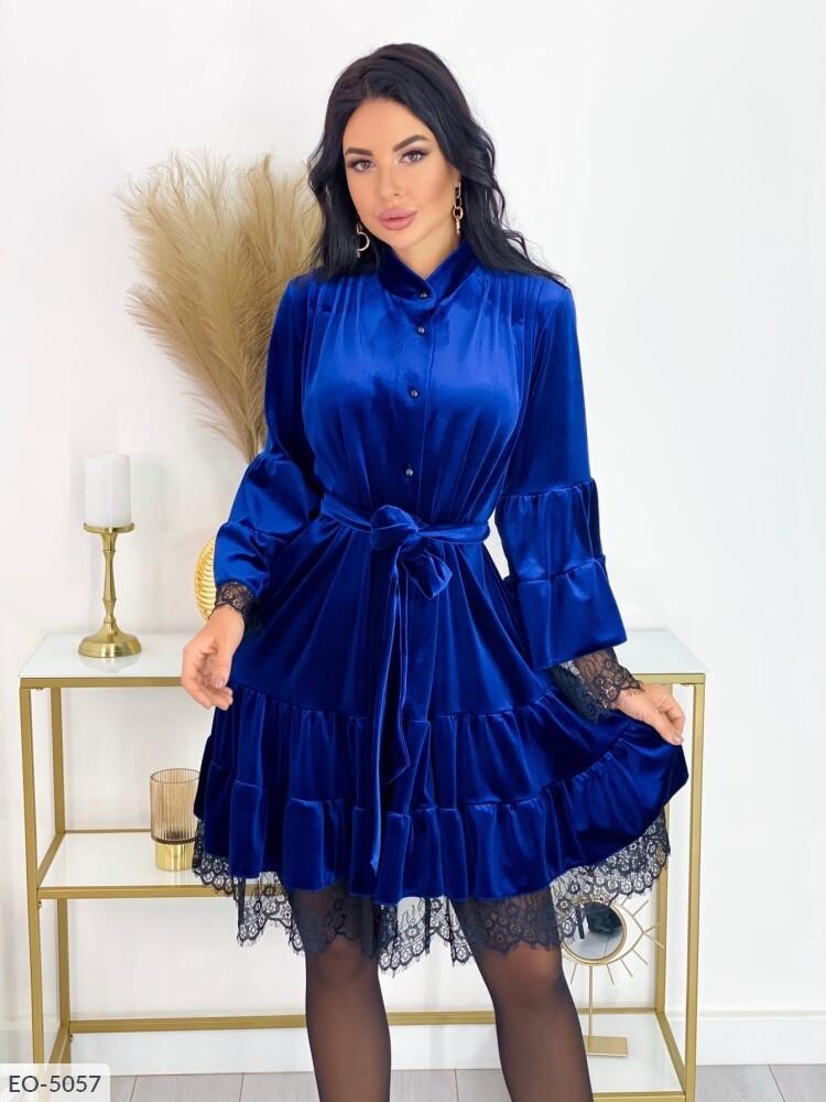 Женское бархатное платье (Батал)