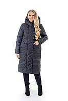 Р-48,50,52,54,56,58,60 Красивый женский весенний плащ- пальто, демисезонный, больших размеров. Черный