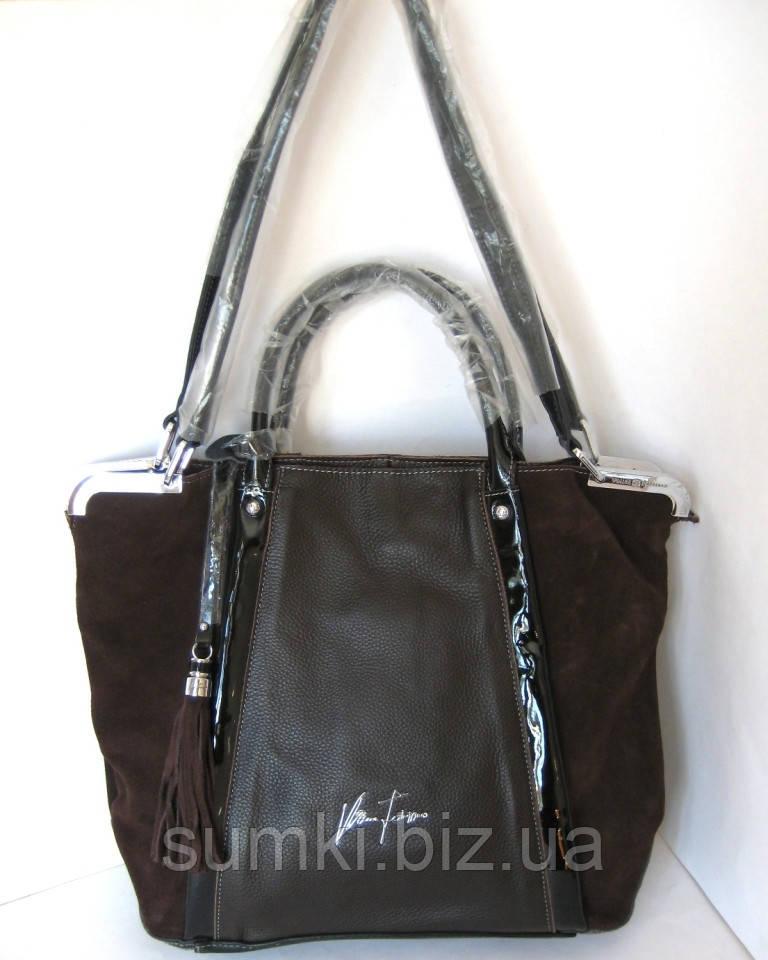 Кожаные  сумки с замшей Velina Fabbiano