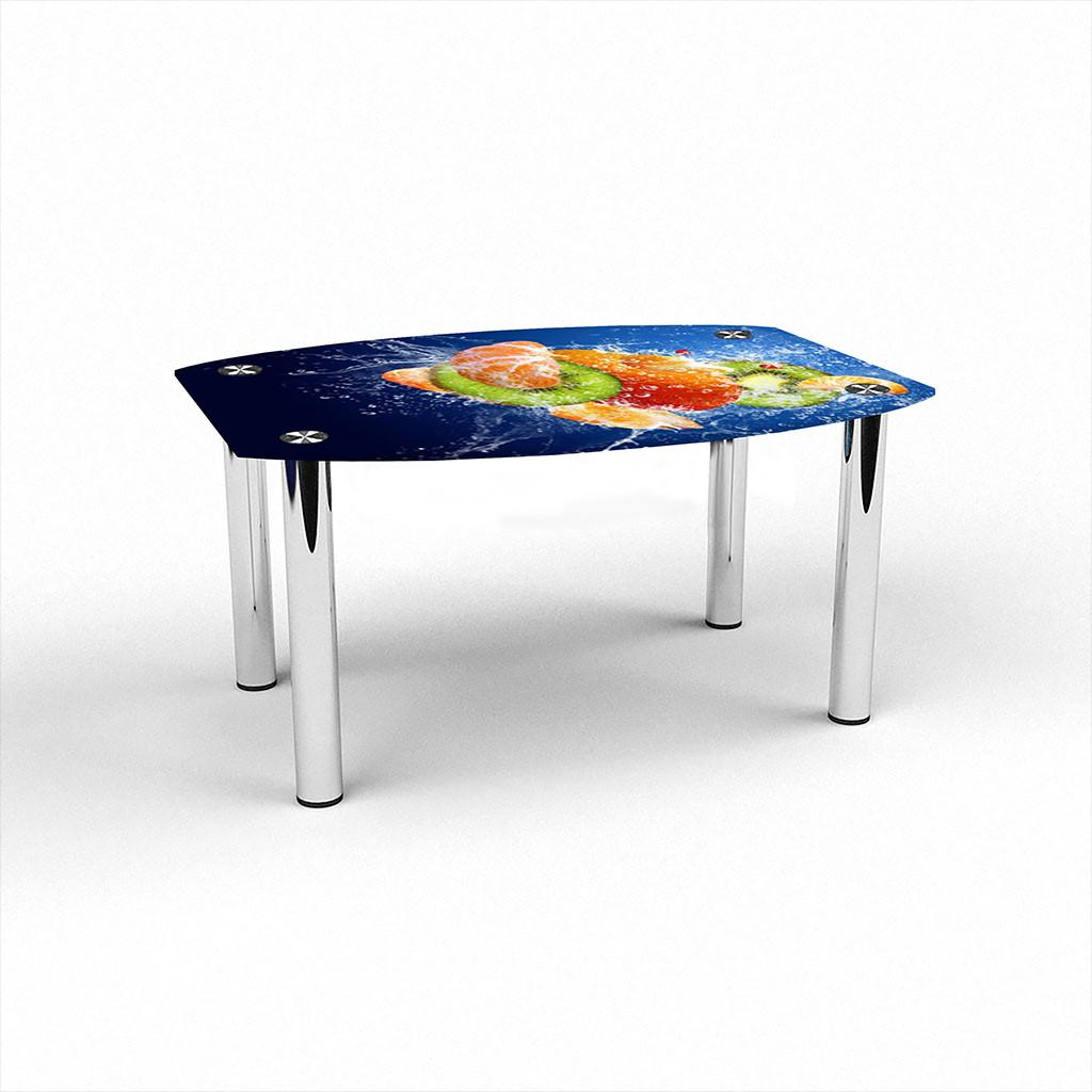 Стеклянный  стол журнальный столик из стекла БЦ Стол Бочка с фотопечатью Sweet Mix